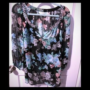 Charter Club Floral Print Top With Bling